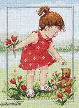 Girl Flowers Tulips For Teddy Bear(Janlynn) 029-0059 / Тюльпаны Для Игрушечного мишки