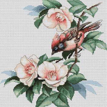 Птичка в цветах В299