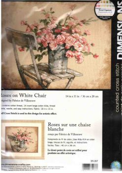 Roses on White Chair 35187 / Розы на белом стуле