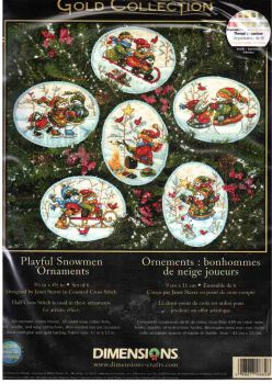 Playful Snowmen Ornaments  8828 / Орнаменты Игривые Снеговики