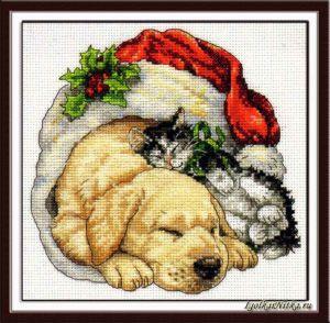 Christmas Morning Pets 08826 / Домашние питомцы рождественским утром