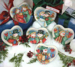 Snowman Hearts Ornaments 8731 / Орнаменты Сердец Снеговиков