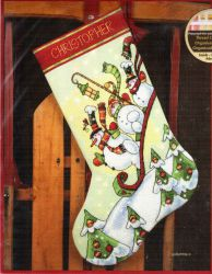 Sledding Snowmen Stocking 70-08853 / Сапожок Снеговик на Санках