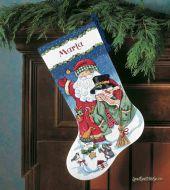 Santa and Snowman Stocking 8714 / Сапожок Санта и Снеговик