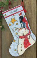 Tall hat snowman stocking 70-08924 / Сапожок Снеговик в Высокой шляпе